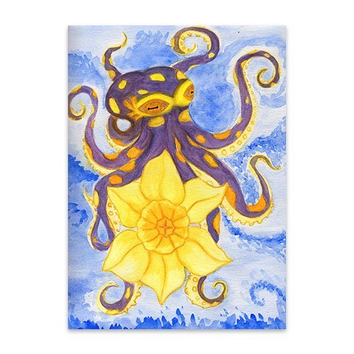Featured---Purple-Octopus-Holding-Daffodil---Watercolor