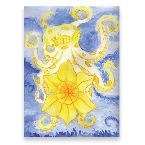 Featured--Yellow-and-White-Octopus-Holds-Daffodil-Watercolor