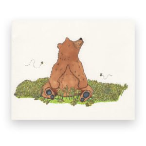 Marker Illustration of a Bear and Flowers Illustrators Newport News VA Design Portfolio